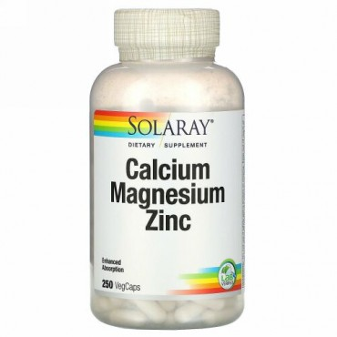 Solaray, カルシウム、マグネシウム、亜鉛、植物性カプセル250粒