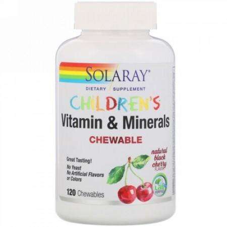 Solaray, 子供用チュアブルビタミン&ミネラル、天然ブラックチェリー味、チュアブル120錠