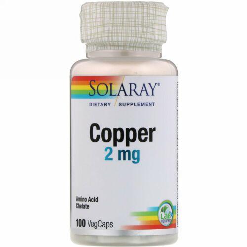 Solaray, 銅、2 mg、植物性カプセル100粒
