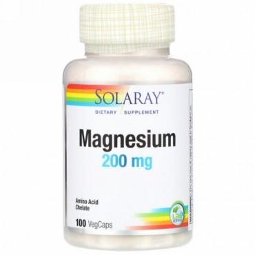 Solaray, マグネシウム、200mg、植物性カプセル100粒