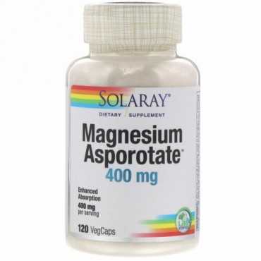 Solaray, Magnesium Asporotate, 400 mg, 120 VegCaps