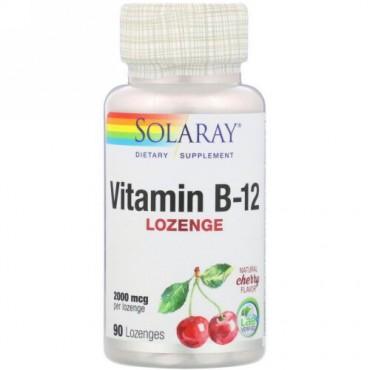 Solaray, Vitamin B-12, Natural Cherry Flavor, 2,000 mcg, 90 Lozenges