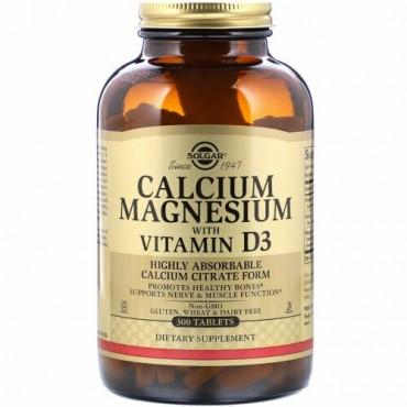 Solgar, ビタミンD3配合カルシウムマグネシウム, 300錠