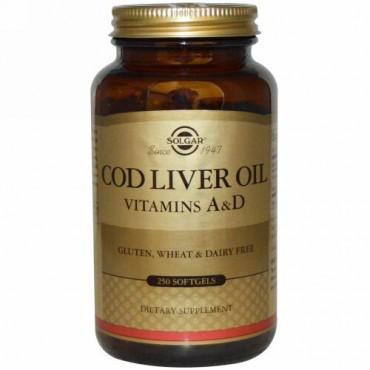 Solgar, コッドリバーオイル(タラの肝油)、ビタミン A & D、250ソフトジェル