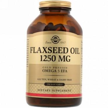 Solgar, アマニ油, 1250 mg, 250 ソフトジェル
