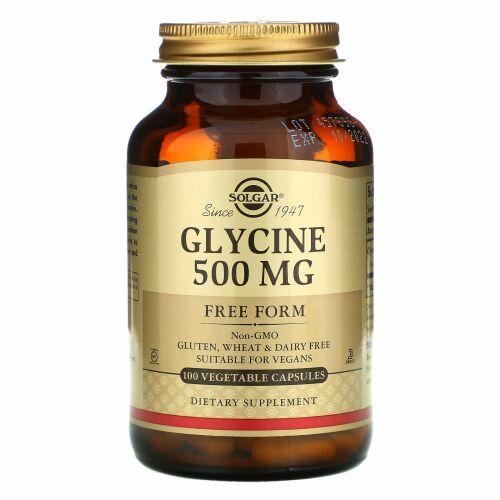 Solgar, グリシン, 500 mg, 100 べベジタブルカプセル