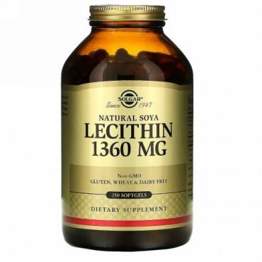 Solgar, 天然大豆レシチン、1,360 mg、ソフトジェル250粒