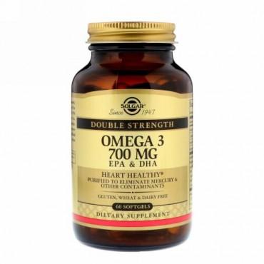 Solgar, オメガ-3、EPA&DHA、ダブルストレングス、700mg、ソフトジェル60錠