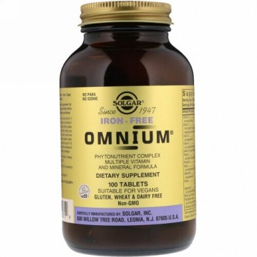 Solgar, Omnium®(オムニウム)、マルチビタミン & ミネラル フォーミュラ、鉄不使用、100 錠