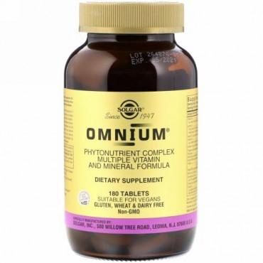 Solgar, オムニアム、植物性栄養素の複合体、マルチビタミンとミネラルのフォーミュラ、180錠
