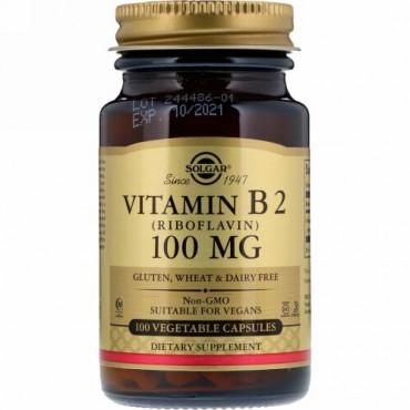 Solgar, ビタミンB2、100 mg、ベジタリアンカプセル100錠