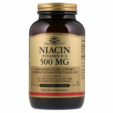 Solgar, ビタミンB3(ナイアシン)、500mg、植物性カプセル250粒
