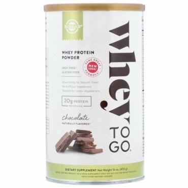 Solgar, WheyToGo(ホエイトゥゴー)、ホエイタンパク質粉末、チョコレート、455g(16オンス)