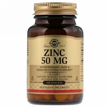 Solgar, 亜鉛, 50 mg, 100 錠