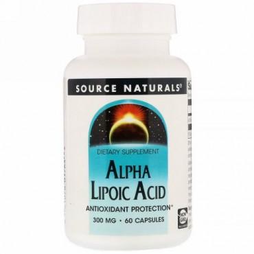 Source Naturals, アルファリポ酸、 300 mg、 60カプセル