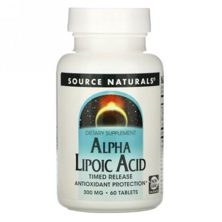 Source Naturals, アルファリポ酸、 タイムドリリース、 300 mg、 60錠