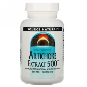 Source Naturals, アーティーチョークエキス 500、 180タブレット