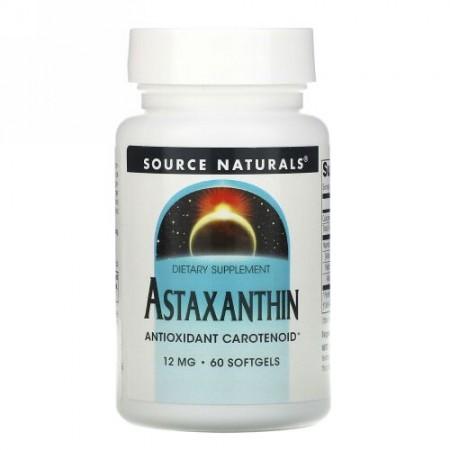 Source Naturals, アスタキサンチン、12mg、ソフトジェル60錠