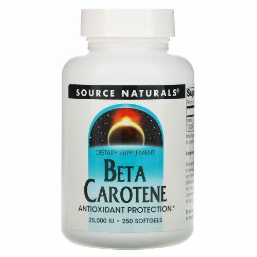 Source Naturals, ベータカロチン, 25,000 IU, 250 ソフトジェル