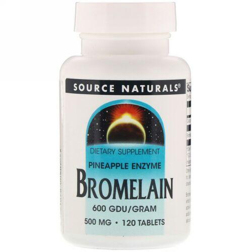 Source Naturals, Bromelain 600 GDU/g, 500 mg, 120 Tablets