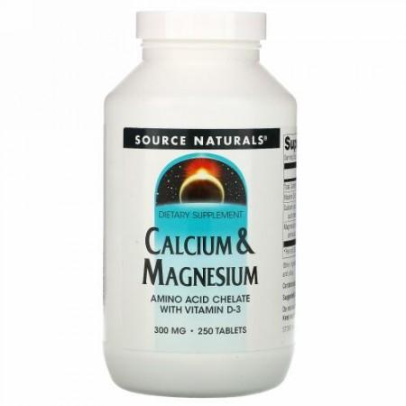 Source Naturals, カルシウム & マグネシウム、300 mg 250粒
