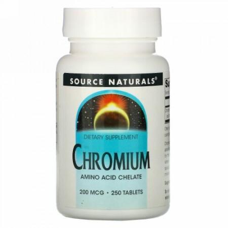 Source Naturals, クロミウム、 200 mcg、 250タブレット