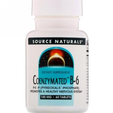 Source Naturals, Coenzymated™(コエンザイメイテッド)B-6、100mg、60錠