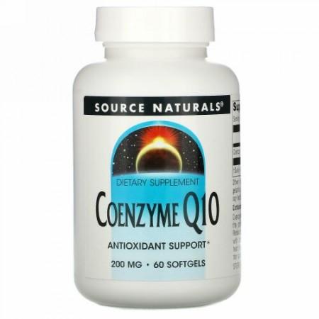 Source Naturals, コエンザイム Q10, 200 mg, ソフトジェル 60 粒