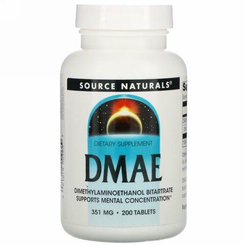 Source Naturals, DMAE (ジメチルアミノエタノール)、351 mg、200粒