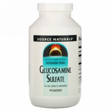 Source Naturals, 硫酸グルコサミンパウダー、 ナトリウム不使用、 16 oz (453.6 g)