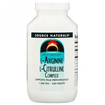 Source Naturals, L-アルギニンL-シトルリン複合体, 1,000 mg, 240錠