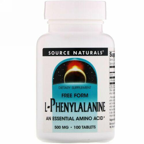 Source Naturals, L-フェニルアラニン, 500 mg, 100 錠