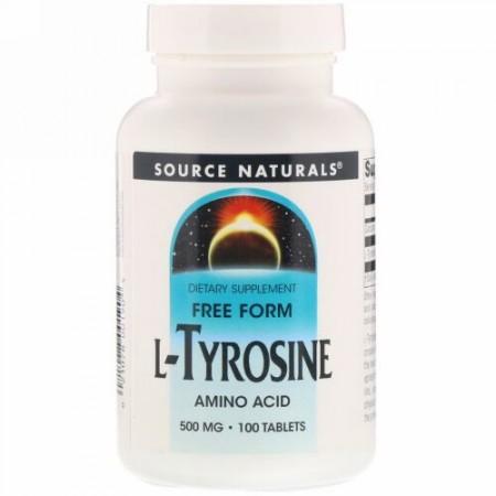Source Naturals, L-チロシン、500mg、100錠