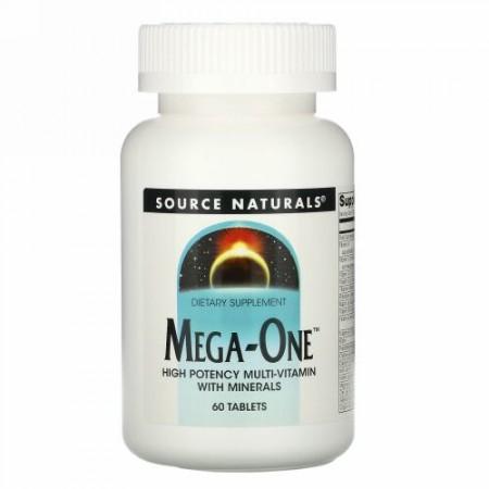 Source Naturals, メガ-ワン、 強力マルチビタミンミネラル入り、 60タブレット
