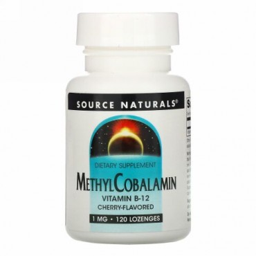 Source Naturals, メチルコバラミン、チェリー風味、1 mg、120バイオリンガルドロップ錠