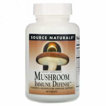 Source Naturals, キノコによる免疫防御、16-キノコ複合体、60錠剤