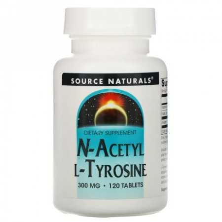 Source Naturals, N-アセチル L-チロシン、 300 mg、 120タブレット