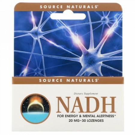 Source Naturals, NADH, 20 mg, 舌下錠剤 30 錠