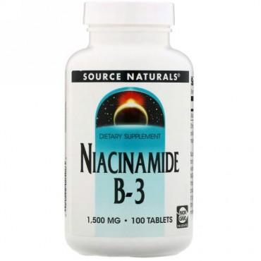 Source Naturals, ナイアシンアミドB-3、1,500mg、100粒
