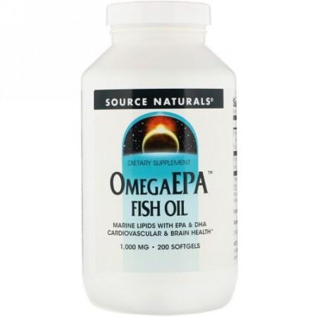Source Naturals, オメガEPAフィッシュオイル、1,000 mg、200ソフトジェル