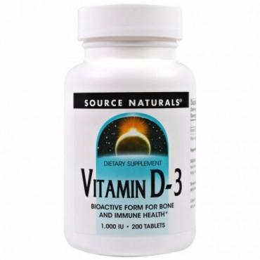 Source Naturals, ビタミン D-3、1,000 IU、200粒