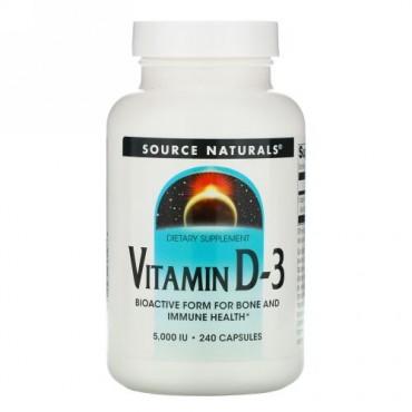 Source Naturals, ビタミン D-3、5,000 IU、240 錠
