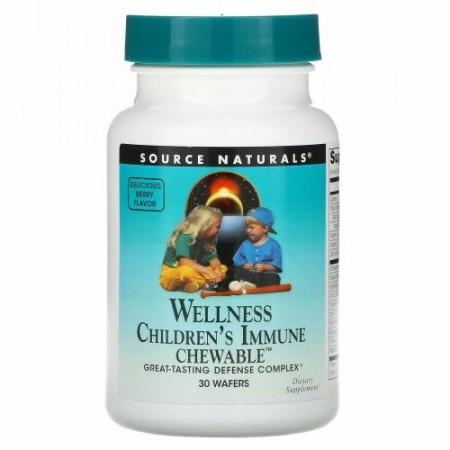 Source Naturals, ウェルネス、子ども用免疫強化チュアブル、美味しいベリー味、30 枚