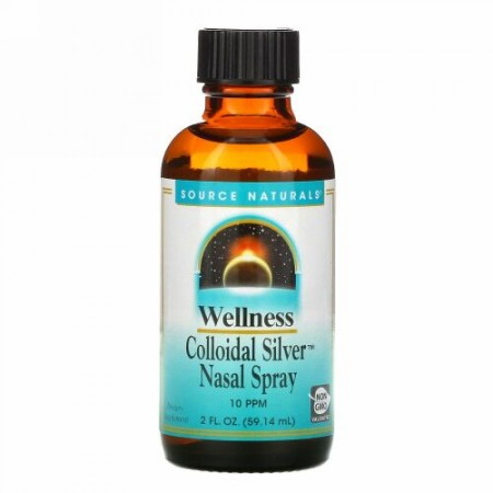 Source Naturals, ウェルネス、コロイダルシルバーネイザルスプレー、10 PPM、2 fl oz (59.14 ml)