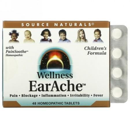 Source Naturals, ウェルネス、イヤーエイク(耳の痛みに)、ホメオパシー剤 48 錠