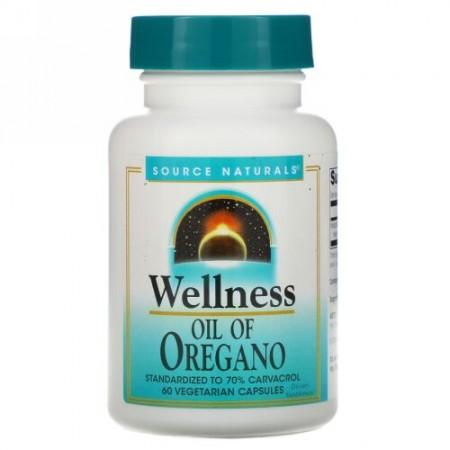 Source Naturals, Wellness, Oil of Oregano, 60 Vegetarian Capsules