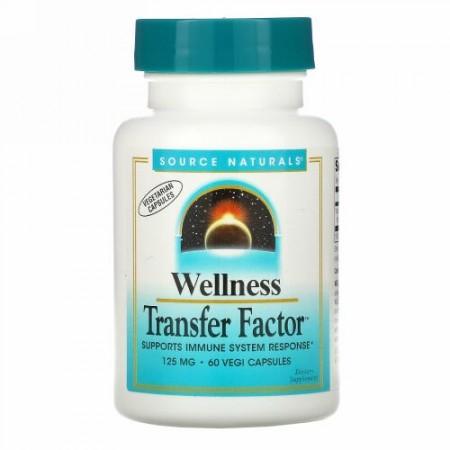 Source Naturals, Wellness Transfer Factor(ウェルネストランスファーファクター)、125mg、ベジカプセル60粒