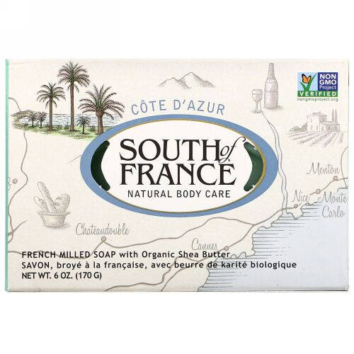 South of France, Cote D' Azur, French Milled Bar Soap with Organic Shea Butter, 6 oz (170 g) (Discontinued Item)
