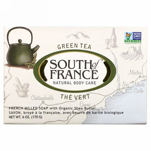 South of France, Green Tea, French Milled Bar Soap with Organic Shea Butter, 6 oz (170 g)