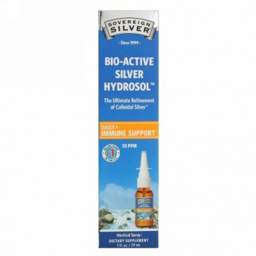 Sovereign Silver, Bio-Active Silver Hydrosol(バイオアクティブシルバーハイドロソル)、垂直スプレー、10PPM、29ml(1液量オンス)